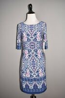 ELIZA J NEW $118 Blue Floral Print Short Sleeve Shift Dress Size 2