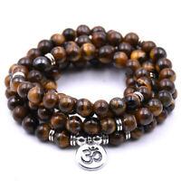 6mm Tiger Eye Stone 108 Beads Pendant Bracelet pray cuff Healing Lucky