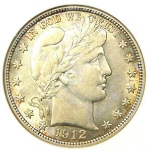 1912 Barber Half Dollar 50C Coin - Certified ANACS AU53 - Rare Coin!
