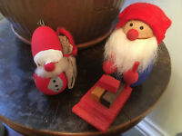 Vtg Mid Century Scandinavian Swedish Danish Wood Pixie Tomte Santa Sled Dolls