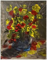 Original Floral StillLife Vase Of Flowers loose 11x14 Painting Signed yellow red