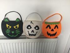 Halloween Bags X 3. Pumpkin, Cat And Ghost