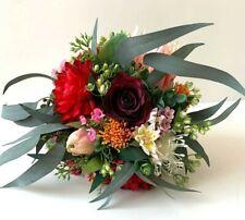 AUSTRALIAN NATIVE FLOWERS PROTEA RUSTIC BURGUNDY FLOWER FAKE GUM BOUQUET POSY X1