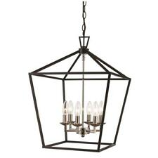 Bel Air Lighting Lacey 6-Light Polished Chrome and Black Pendant