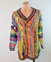 90s Vtg COOGI Neon Australia BIGGIE Bright V-Neck sweater FIRE L Vaporwave