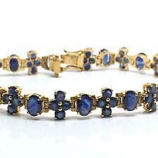 14k Yellow Gold Natural Sapphire Tennis Bracelet With Unique Design. Sept Birth