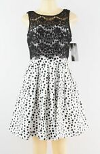 Betsy & Adam ~ White & Black Polka Dots Lace Bodice Party Dress 2 NEW $209