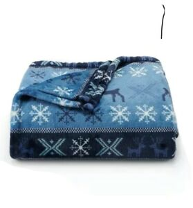 The Big One Oversized Blue Nordic Super Soft Throw Blanket 5' x 6' Holiday Gift