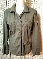 Jacket Women XL Army Green Cotton Twill Long Sleeve Military Style Short Coat