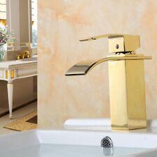 Bathroom Waterfall Faucet Deck Mounted Brass Vanity Sink Mixer Tap Gold