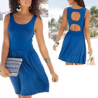 sexy Rücken Kleid Gr.40/42 Strandkleid Mini Sommerkleid Jersey Shirtkleid BLAU