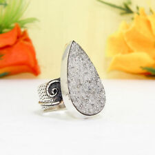 49CTS BEAUTIFUL WHITE  DRUZY VINTAGE STYLE SILVER PLATED RING=US-8.50,HANDMADE