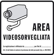 Nr 10 cartelli segnaletici telecamera area video sorvegliata in alluminio