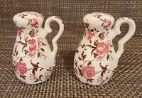 Vintage Nasco Japan Rose Garden China Handled Salt and Pepper Shakers