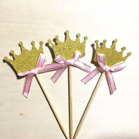 24x Crown Cupcake Toppers - Gold Glitter Princess Prince Fairytale Party DIY