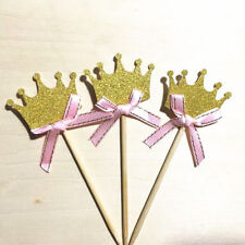 24pcs/set Gold Glitter Crown Cupcake Toppers Wedding Picks Party BABY SHOWER