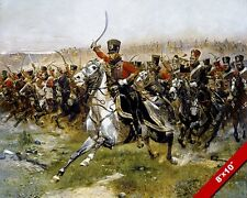 FRENCH ARMY HUSSAR CAVALRY CHARGE HISTORY OIL PAINTING ART PRINT ON REAL CANVAS