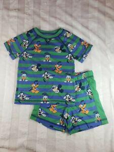 Boys Disney Mickey Mouse Goofy Pluto Green Blue Striped 2 PC Summer Pajama Set 4