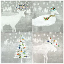 4x Paper Napkins -Winter Farm Silver- for Party, Decoupage MIX