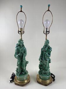 Pair 1950s Asian Figurine Lamps Green Emperor Empress Ceramic Oriental
