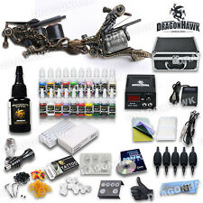 Pro Complete Tattoo Machine Kit 2 LUO Gun 21 Ink Power Supply Case Needle Set