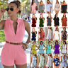 Women Boho Mini Jumpsuit Playsuit Rompers Summer Party Beach Casual Shorts Dress