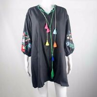 Unbranded Ladies Black Embroidery Long Sleeve Top One Size