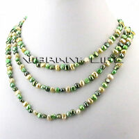 "56"" 5-6mm Multi Color Green Champagne Baroque Freshwater Pearl Necklace Jewelry"