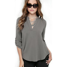 Womens Chiffon V Neck Tops Long Sleeve Shirt Casual Summer Blouse Loose T-shirt