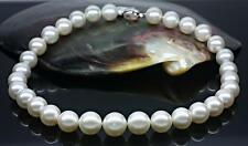 """HUGE 18""""9-10MM NATURAL SOUTH SEA GENUINE WHITE PEARL NECKLACE GOOD LUSTER AAA"""