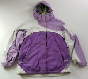 Black Dot Girl's Large L Outerwear Winter Jacket Purple White Hoodie Pockets