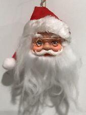 "Vintage Santa Clause Head Christmas Ornament Felt Hat Beard Holly 5"" Glasses"