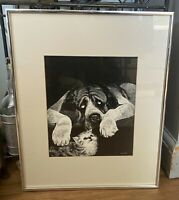Vintage Rudy Droguett Print Dog and Cat Framed Matted 16 x 20 St Bernard