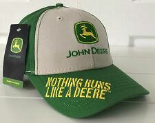 "John Deere Beige & Green Fabric Hat Cap ""Nothing Runs Like a Deere"" Embroidery"