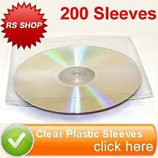 200 CD DVD DISC CLEAR PLASTIC SLEEVE WALLET COVER CASE WITH FLAP