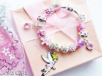 Tinkerbell fairy bracelet with charms childrens girls in gift box or pouch sizes