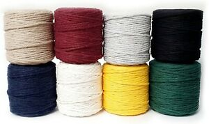 Makramee Garn 2-5mm Baumwollkordel Baumwollgarn Natur Macrame die Farben