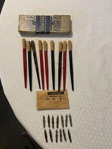 Vintage Eagle Pencil Co Cortex Penholders Qty9 +Speedball Nibs Qty13 Free Ship