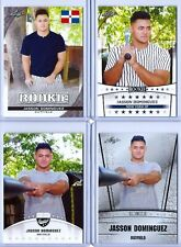 """(4) JASSON DOMINGUEZ 2019 LEAF """"1ST EVER PRINTED"""" ROOKIE CARD LOT! NY YANKEES!"""