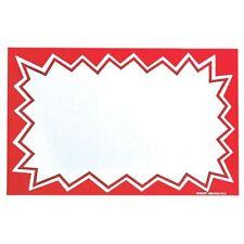 "Hubert White Sign Cardboard With Red Starburst Border - 7""L x 5 1/2""H 100/Pack"