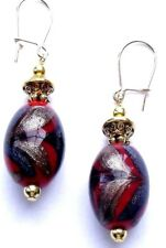 NAVY/RED/GOLD OVAL GLASS BEAD&GOLD PLATED DROP EARRINGS - WITH ORGANZA GIFT BAG