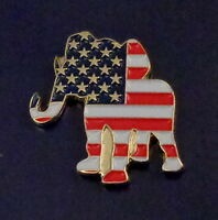 Republican Party GOP Elephant Lapel Pin US Flag Colors Red/White/Blue/Gold
