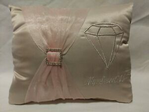 NEW Sweet Sixteen Kneeling pillow Beige & Pink Embroidered with Silver Lettering