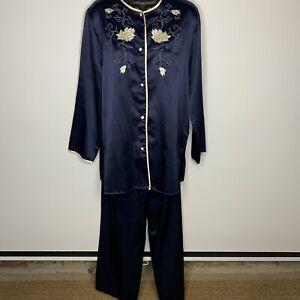Vtg Notorious Neiman Marcus Sz S Blue Asian Pajamas