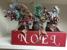 3 Mason Jars in decorative pallet wood box.  Bathroom kitchen. Holiday,...