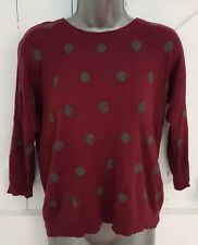 Wine Red/Grey Polkadot Jumper Size 8 Thin Knit VGC Women's Ladies 3/4 Sleeves