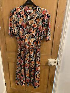 Vintage Berkertex Floral Button Up Midi Dress Size 16