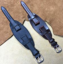 Size 12/14/16/18/20mm Vintage Bund Style Leather Cuff Watch Strap/Band #BH9341