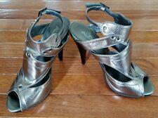 EUC Aldo Silver Caged Ankle Strap High Heel Platform Sandals Women's Size 39 EU