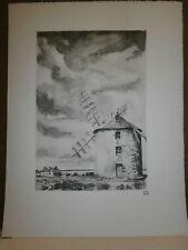 Gravure moulin a vent par P. Valade Moulin de Belle Isle en mer prés Sauzon